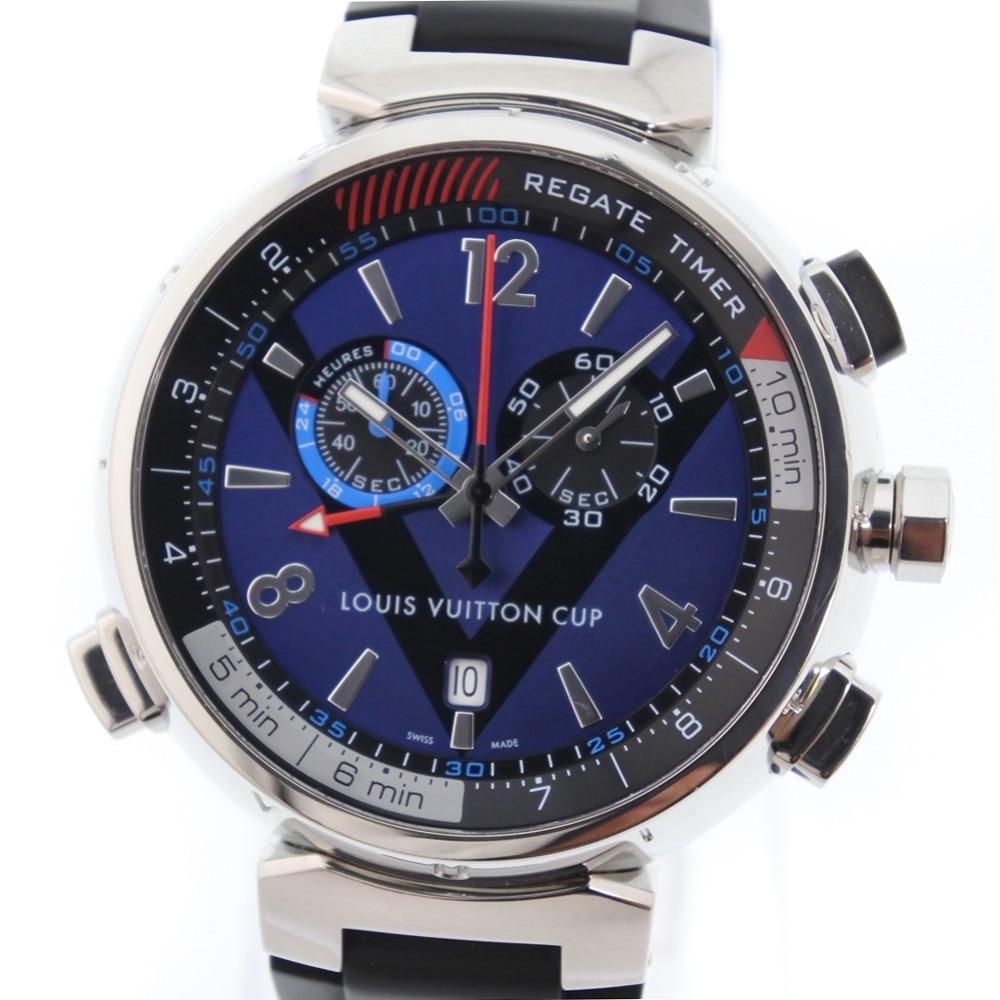 【LOUIS VUITTON】ルイ・ヴィトン タンブール レガッタ Q102D ステンレススチール×ラバー ブラック クオーツ メンズ ブルー文字盤 腕時計【中古】Aランク