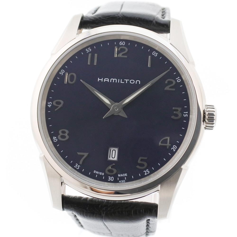 【HAMILTON】ハミルトン ジャズマスター シンライン H385111/H38511743 ステンレススチール×レザー シルバー クオーツ メンズ ネイビー文字盤 腕時計【中古】Sランク