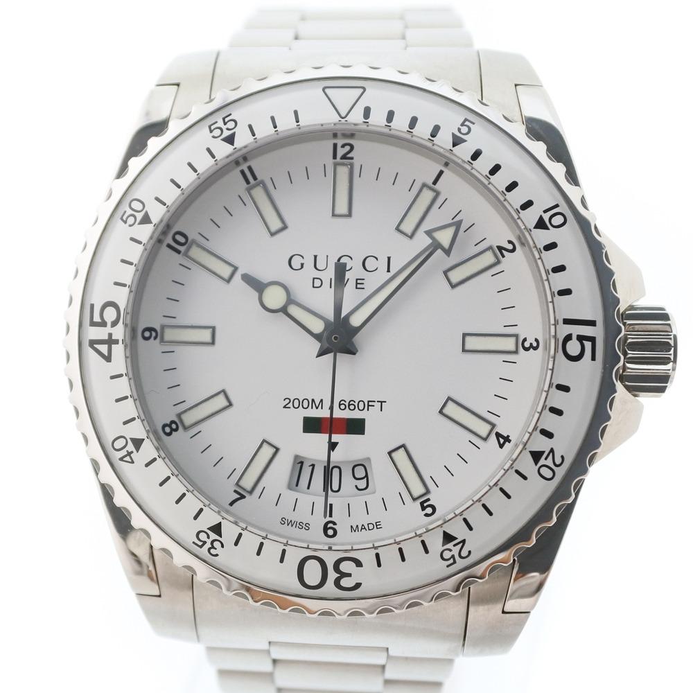 【GUCCI】グッチ DIVE 200M ダイブ 136.3 ステンレススチール シルバー クオーツ メンズ 白文字盤 腕時計【中古】A+ランク
