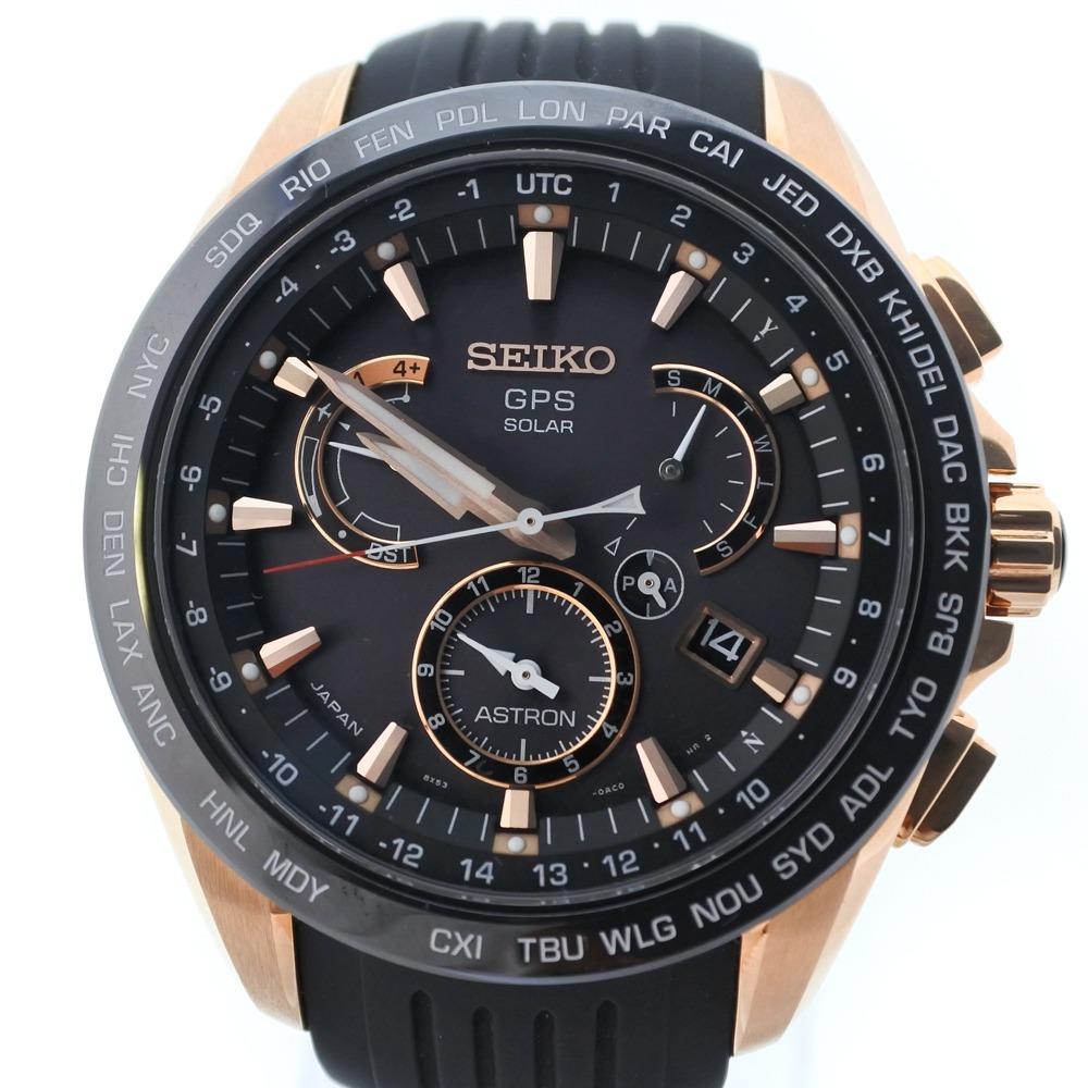【SEIKO】セイコー アストロン 8X53-6AC0 SBXB055 GP×ラバー ピンクゴールド ソーラー電波時計 メンズ 黒文字盤 腕時計【中古】SAランク