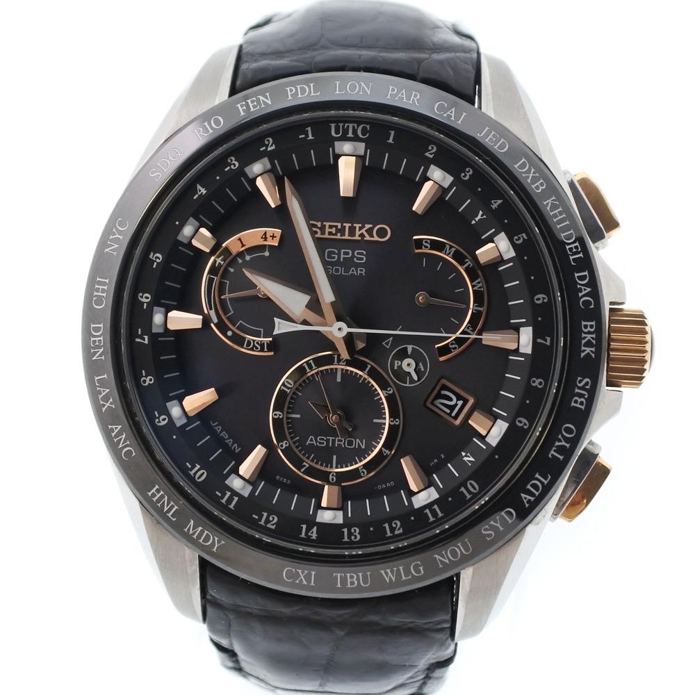 【SEIKO】セイコー ★アストロン 8X53-6AB0-2 ステンレススチール×レザー ゴールド ソーラー電波時計 メンズ 黒文字盤 腕時計【中古】A-ランク