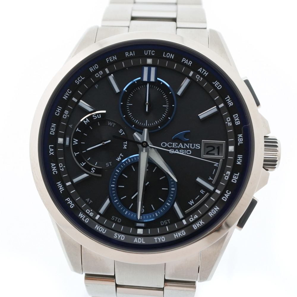 【CASIO】カシオ オシアナス OCW-T2600-1AJF チタン シルバー ソーラー電波時計 メンズ グレー文字盤 腕時計【中古】SAランク