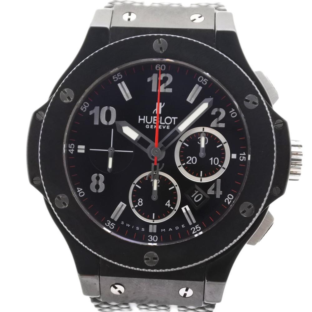 【HUBLOT】ウブロ ビッグバン ブラックマジック 301.CX.130.RX ステンレススチール×ラバー ブラック 自動巻き メンズ 黒文字盤 腕時計【中古】A-ランク