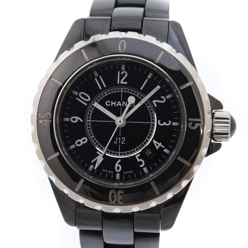 【CHANEL】シャネル J12 セラミック ブラック クオーツ レディース 黒文字盤 腕時計【中古】A-ランク