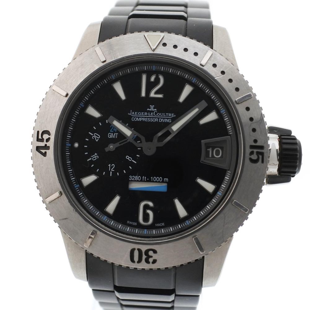 【JAEGER-LECOULTRE】ジャガー・ルクルト マスターコンプレッサー ダイビング/ダイバー GMT 1500本限定 160.T.05 ステンレススチール シルバー 自動巻き メンズ 黒文字盤 腕時計【中古】Aランク