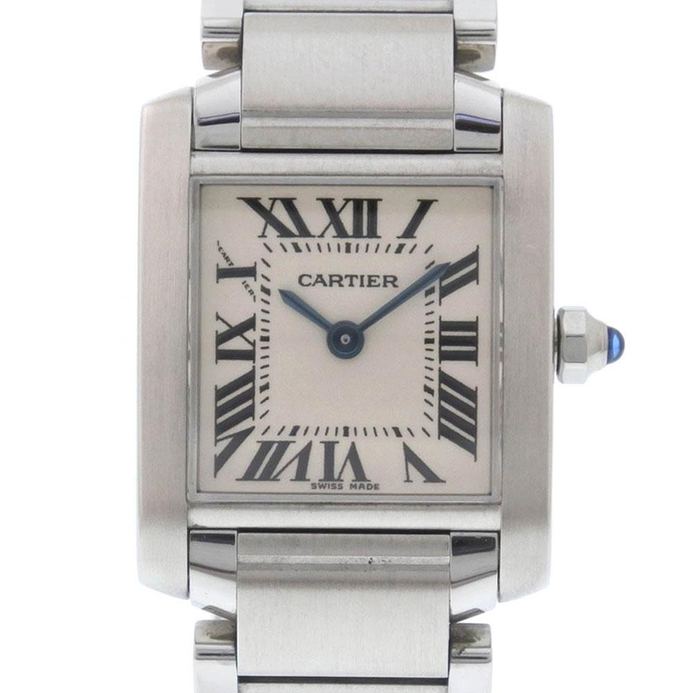 【CARTIER】カルティエ タンクフランセーズSM W51008Q3 ステンレススチール シルバー クオーツ レディース 白文字盤 腕時計【中古】Aランク