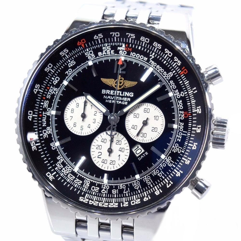 【BREITLING】ブライトリング ナビタイマー ヘリテージ A35350 ステンレススチール シルバー 自動巻き メンズ 黒文字盤 腕時計【中古】Aランク