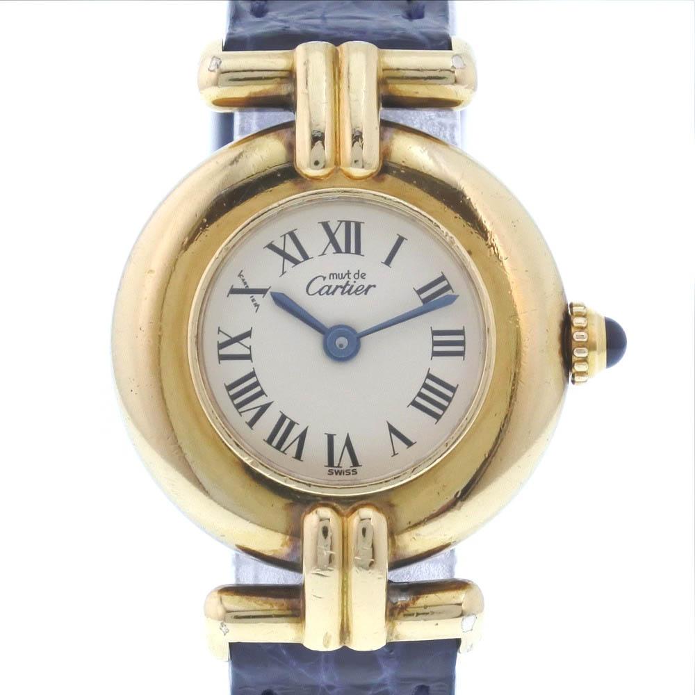 【CARTIER】カルティエ マストコリゼ 590002 シルバー925×レザー ゴールド クオーツ レディース アイボリー文字盤 腕時計【中古】A-ランク