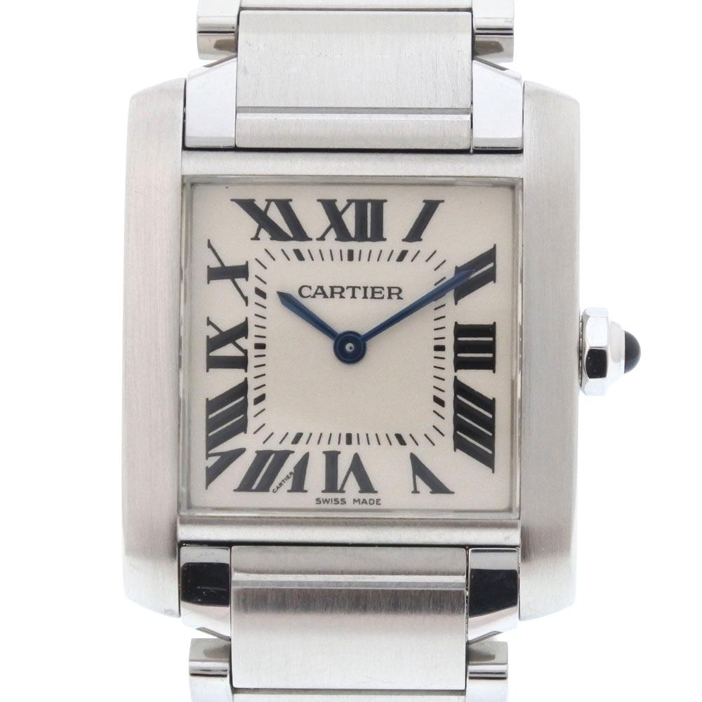 【CARTIER】カルティエ タンクフランセーズMM W51011Q3 ステンレススチール シルバー クオーツ ボーイズ 白文字盤 腕時計【中古】Aランク