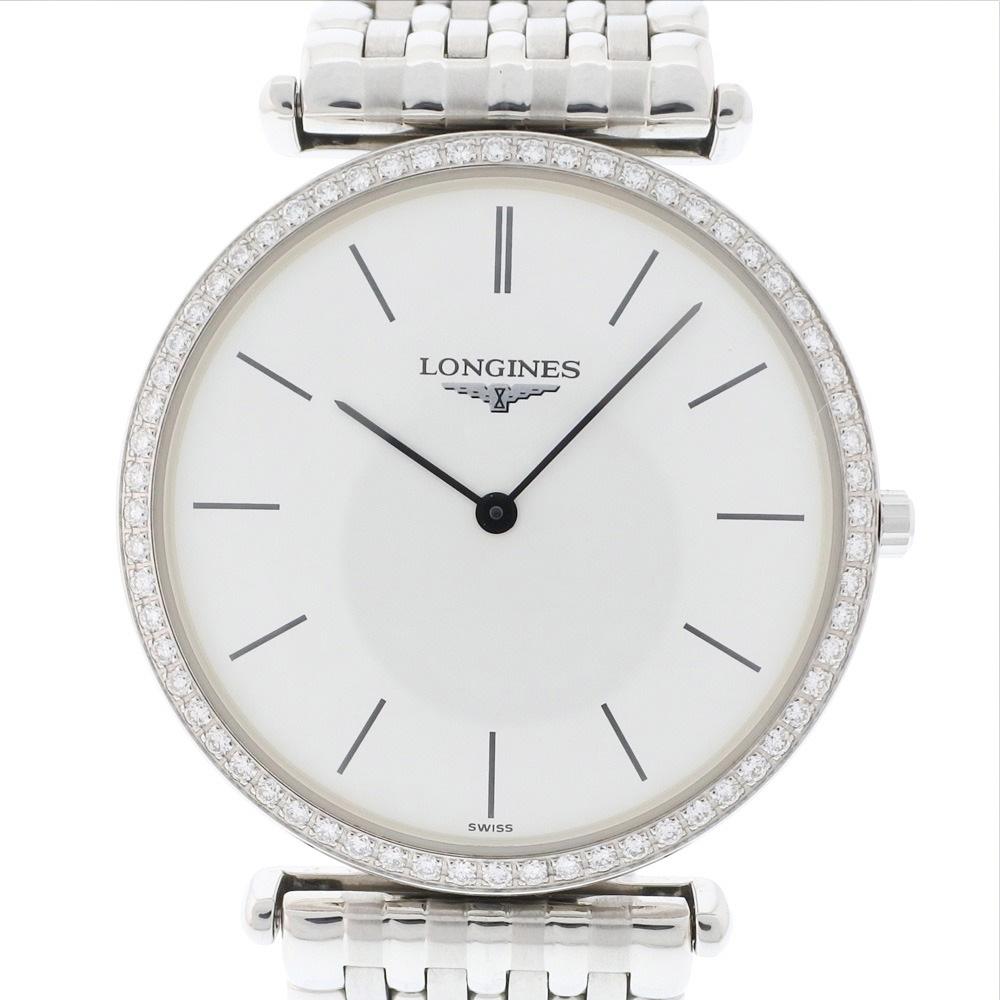 【LONGINES】ロンジン グランドクラシック ダイヤベゼル L4.704.0 ステンレススチール シルバー クオーツ メンズ 白文字盤 腕時計【中古】Aランク