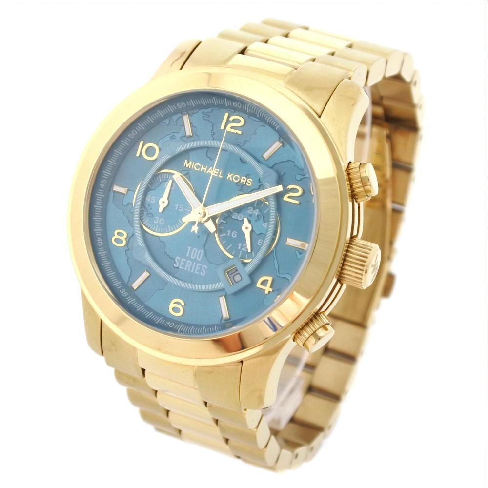 27b7b46bcbaa Michael Kors charity watch 100 series MK-8315 stainless steel gold quartz  men bluish green clockface watch A rank