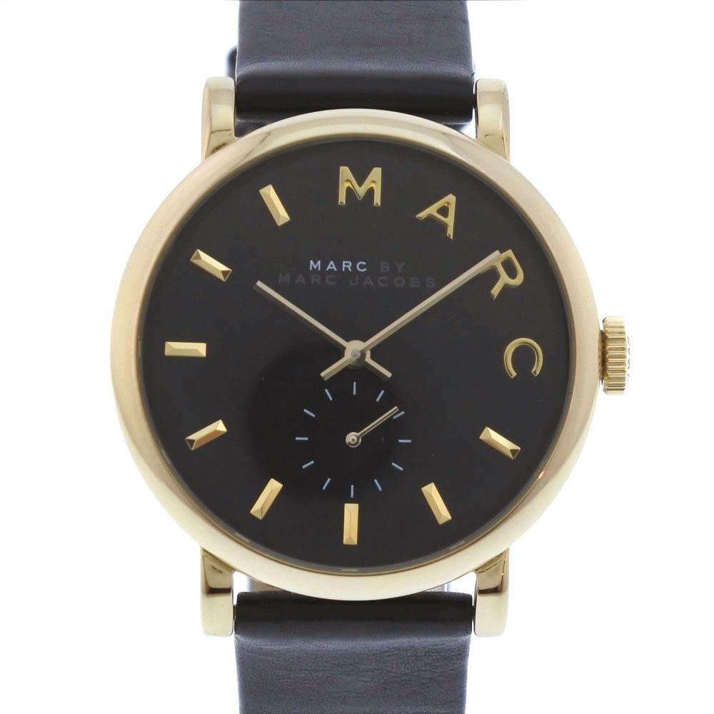 【MARC BY MARC JACOBS】マークバイマークジェイコブス MBM1269 ステンレススチール×レザー ゴールド クオーツ レディース 黒文字盤 腕時計【中古】A-ランク