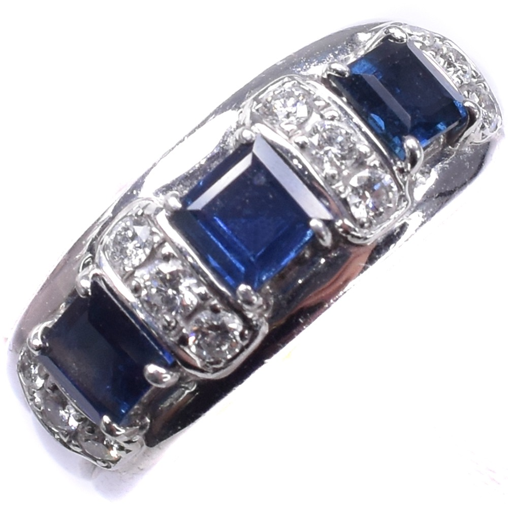 【POLA】ポーラ サファイア Pt900プラチナ×ダイヤモンド 7.5号 レディース リング・指輪【中古】A-ランク