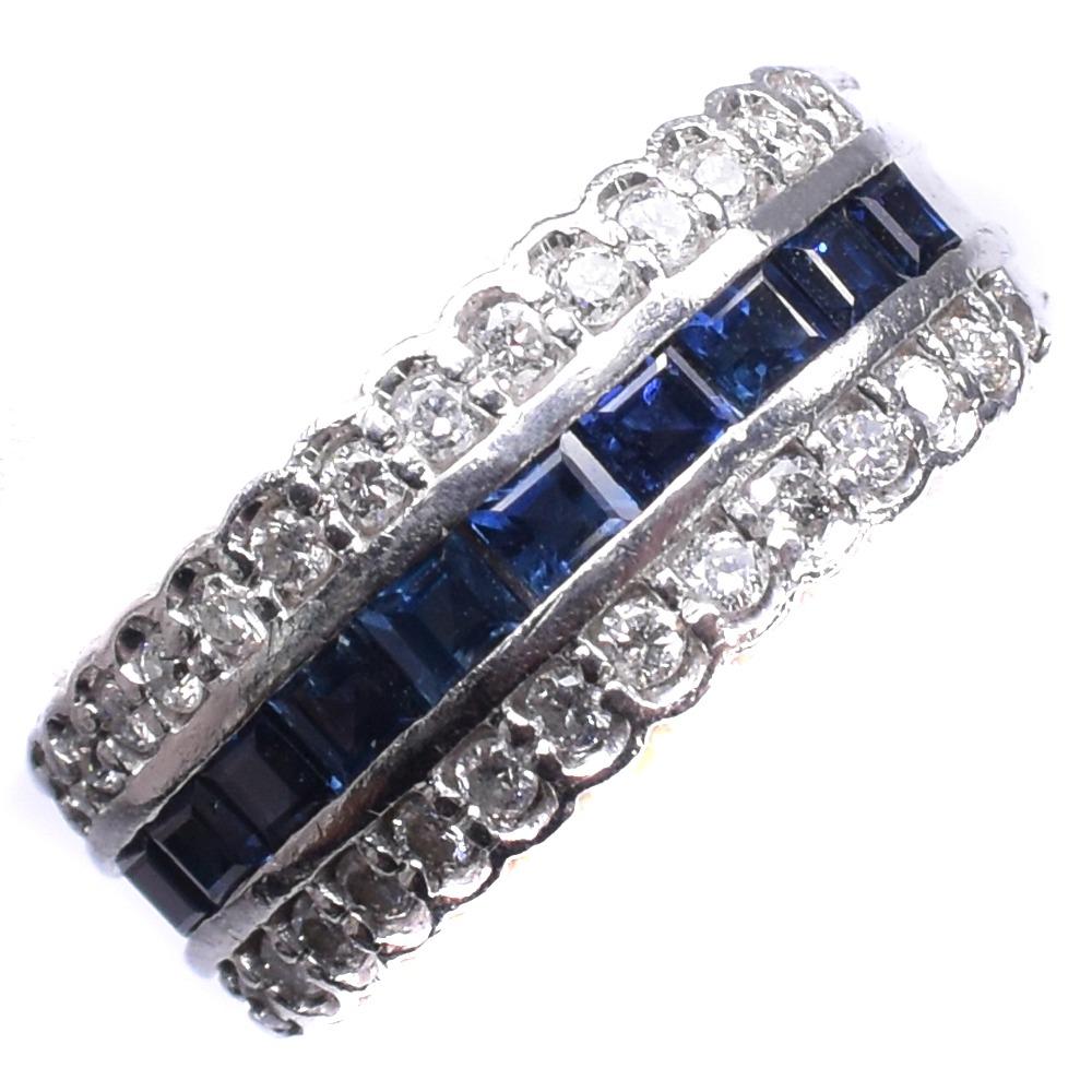 サファイア Pt900プラチナ×ダイヤモンド 11号 レディース リング・指輪【中古】A-ランク