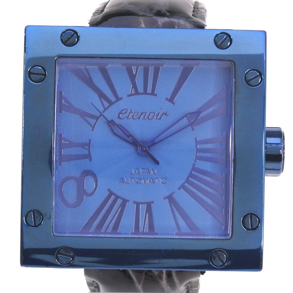 【etenoir】エテノワール ★BLUEモデル ETGS02 ステンレススチール×レザー ブラック 自動巻き メンズ 青文字盤 腕時計【中古】Aランク