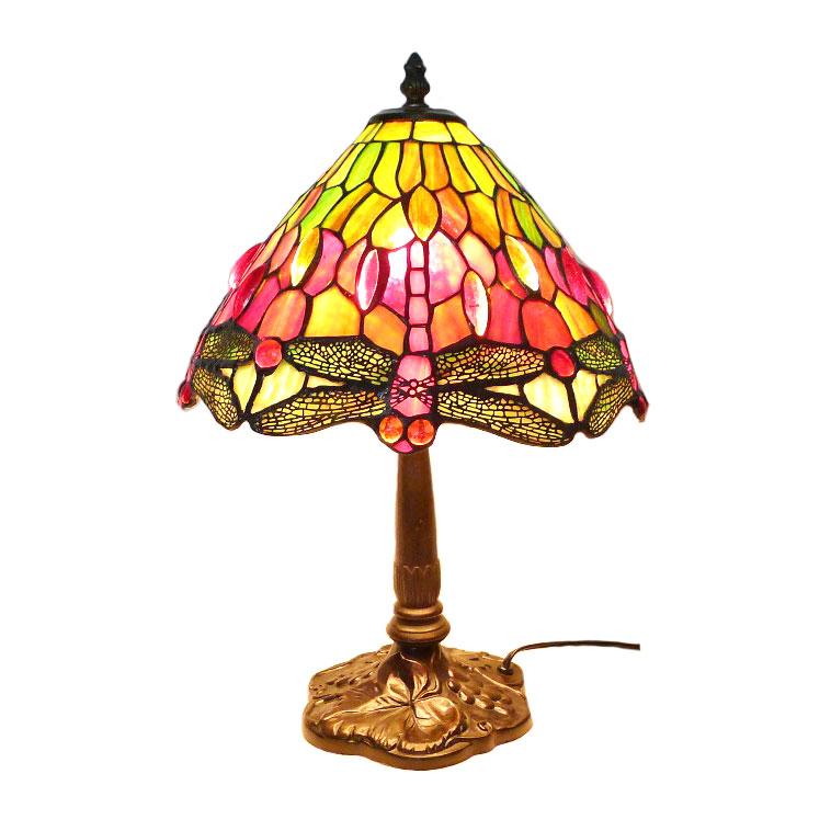 【Light】ライト ステンドグラスランプ 卓上照明 アンティーク トンボ柄 ユニセックス 照明【中古】A-ランク