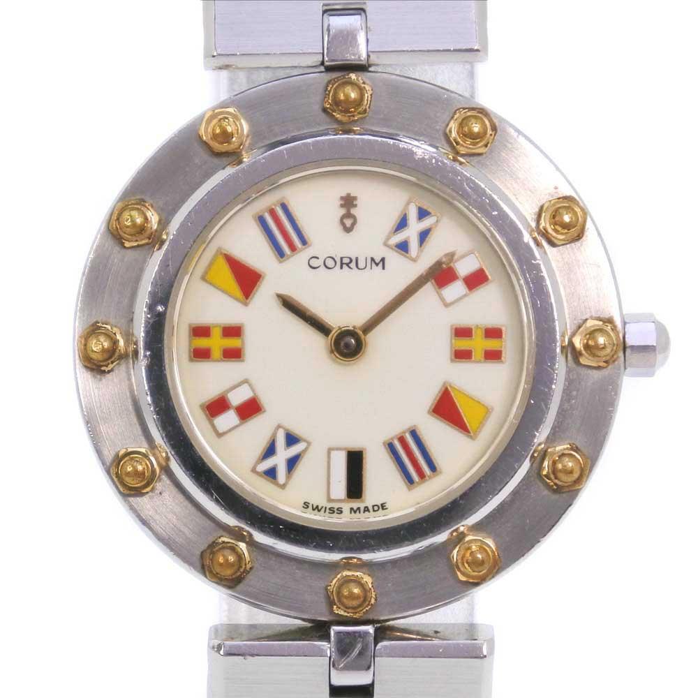 【CORUM】コルム クリッパークラブ 47425 39V96 ステンレススチール シルバー クオーツ レディース クリーム文字盤 腕時計【中古】