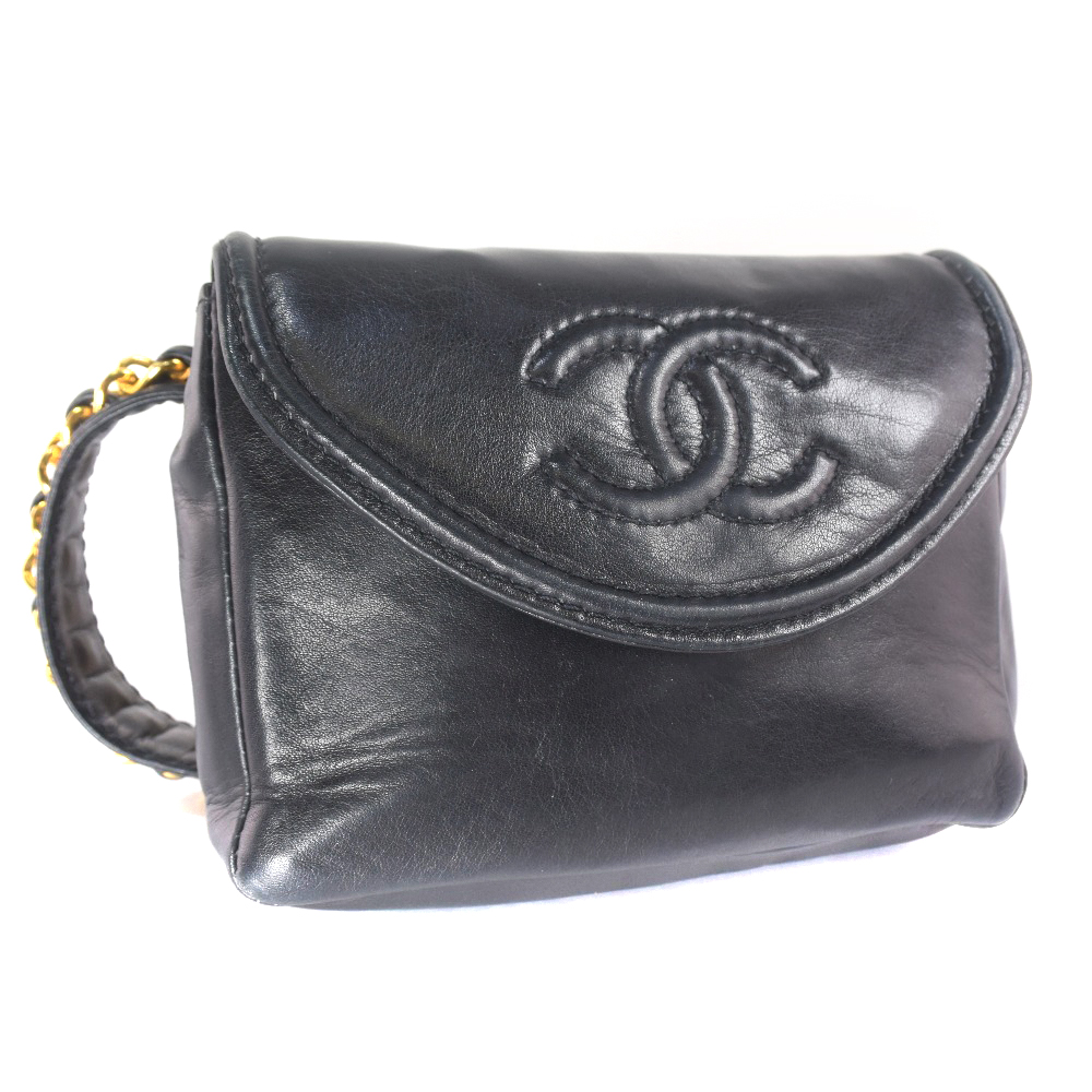 8eaf61b2f12d pawn shop nishikino: Chanel waist porch lambskin black Lady's bum ...