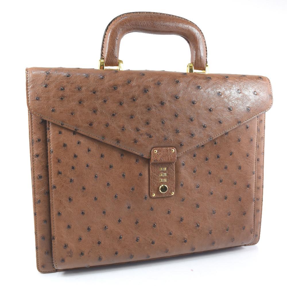 【ostrich】オーストリッチ ビジネスバッグ 茶 メンズ ハンドバッグ【中古】A-ランク