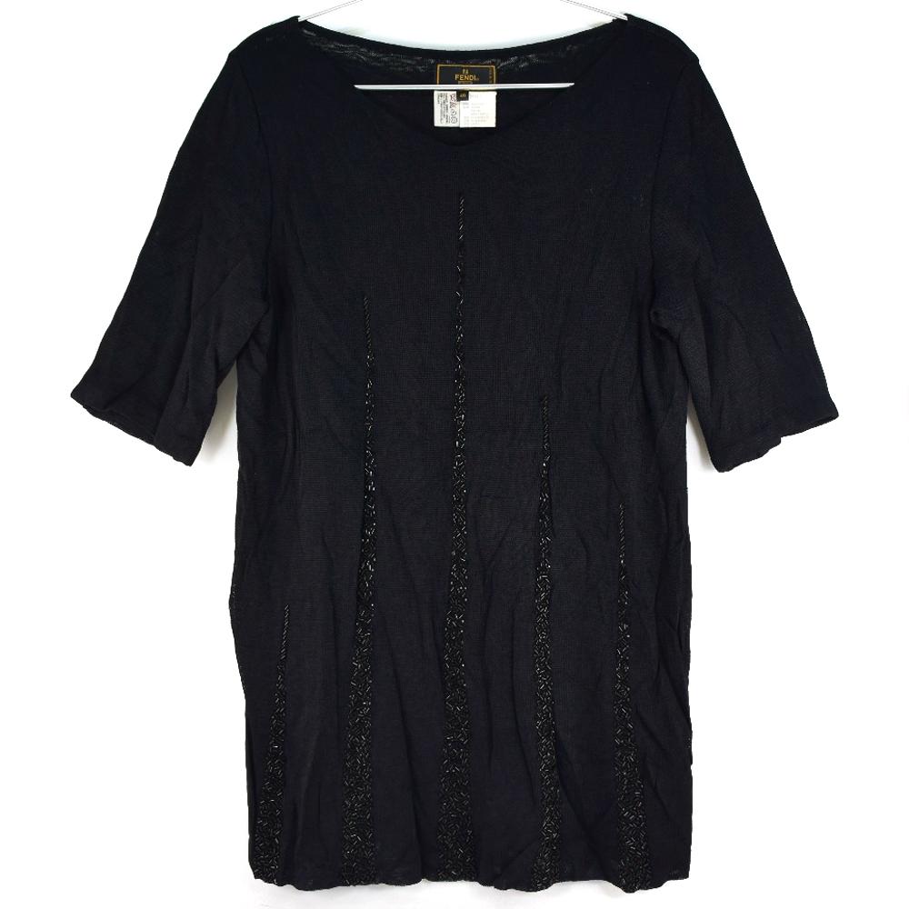 【FENDI】フェンディ スパンコール 黒 レディース 半袖Tシャツ【中古】A-ランク