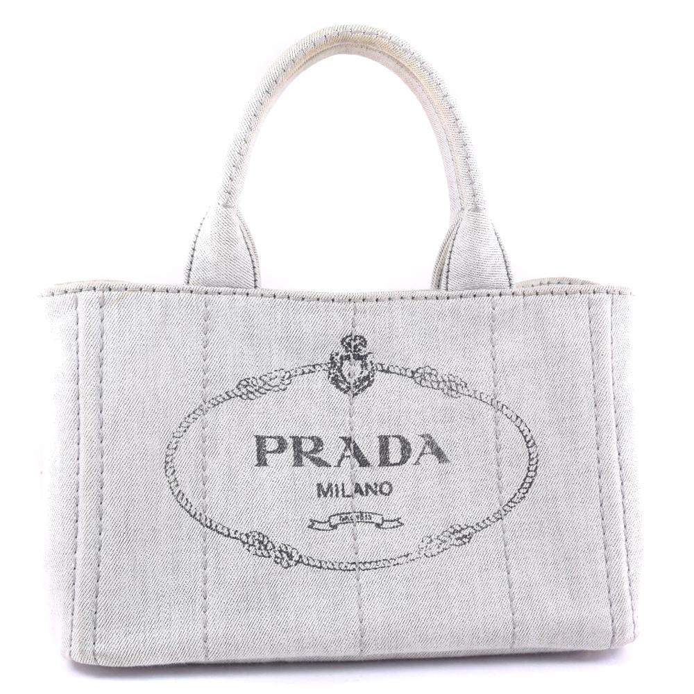 【PRADA】プラダ ミニカナパトート B2439G デニム ビアンコ グレー レディース ハンドバッグ【中古】