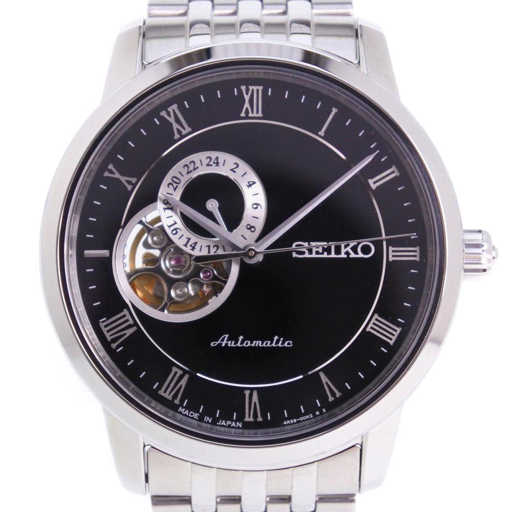 【SEIKO】セイコー 裏スケ 4R39-00M0 ステンレススチール シルバー 自動巻き メンズ 黒文字盤 腕時計【中古】SAランク