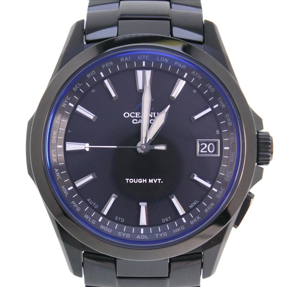 【CASIO】カシオ オシアナス OCW-S100 チタン ブルー ソーラー メンズ 黒文字盤 腕時計【中古】SAランク