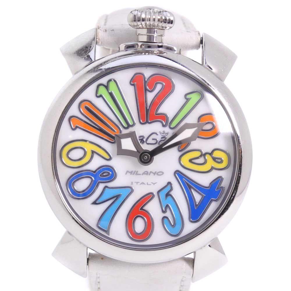 【GaGa MILANO】ガガミラノ マニュアーレ40 シェル文字盤 白 クォーツ レディース腕時計【中古】