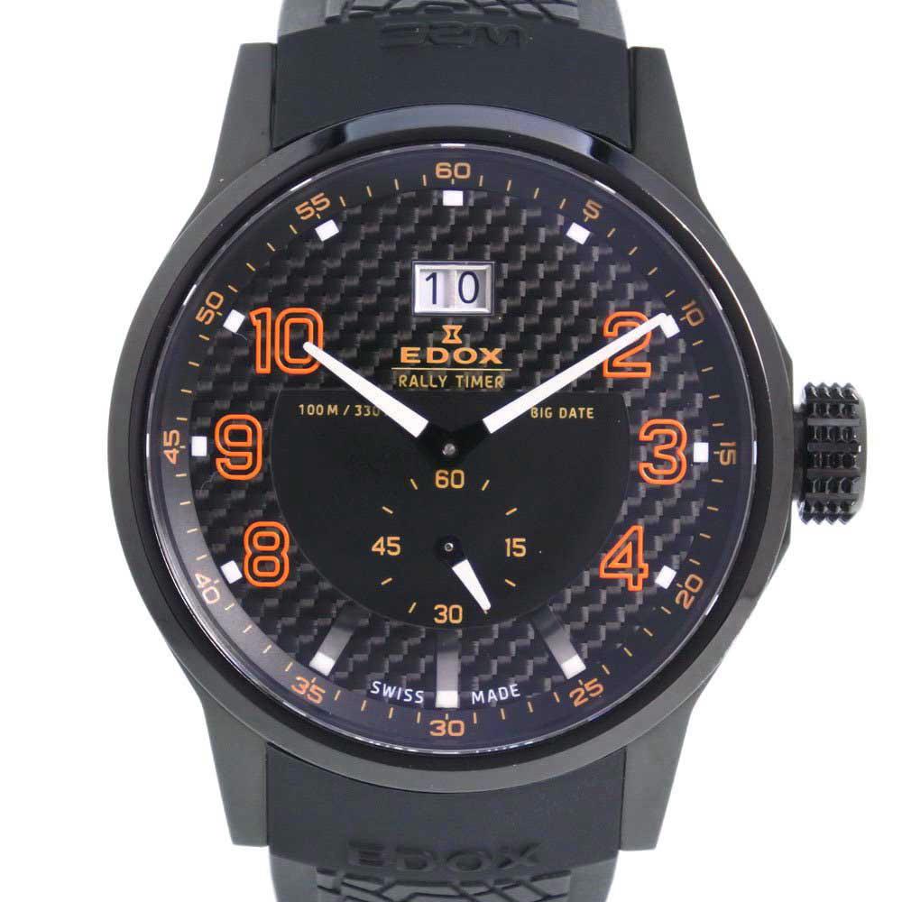 【EDOX】エドックス ラリータイマー 64008-37N-NOR ステンレススチール×ラバー オレンジ クオーツ メンズ 黒文字盤 腕時計【中古】Aランク