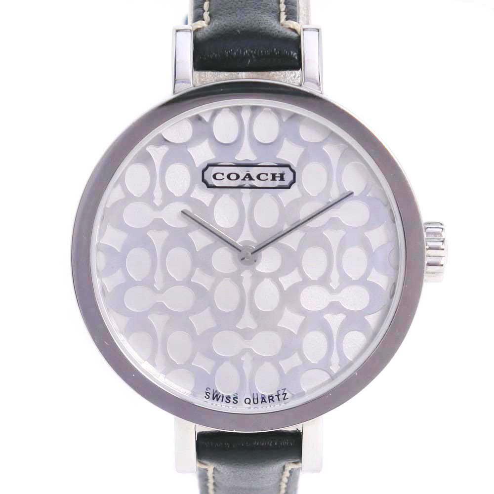 【COACH】コーチ CA.21.7.14.0380 ステンレススチール×レザー ブラック クオーツ レディース シルバー文字盤 腕時計【中古】A-ランク