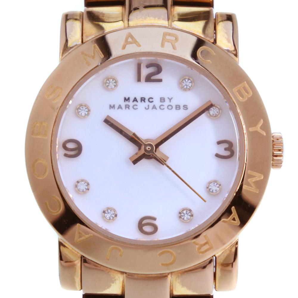 【MARC BY MARC JACOBS】マークバイマークジェイコブス MBM3078 GP×ステンレススチール ピンクゴールド クオーツ レディース 白文字盤 腕時計【中古】