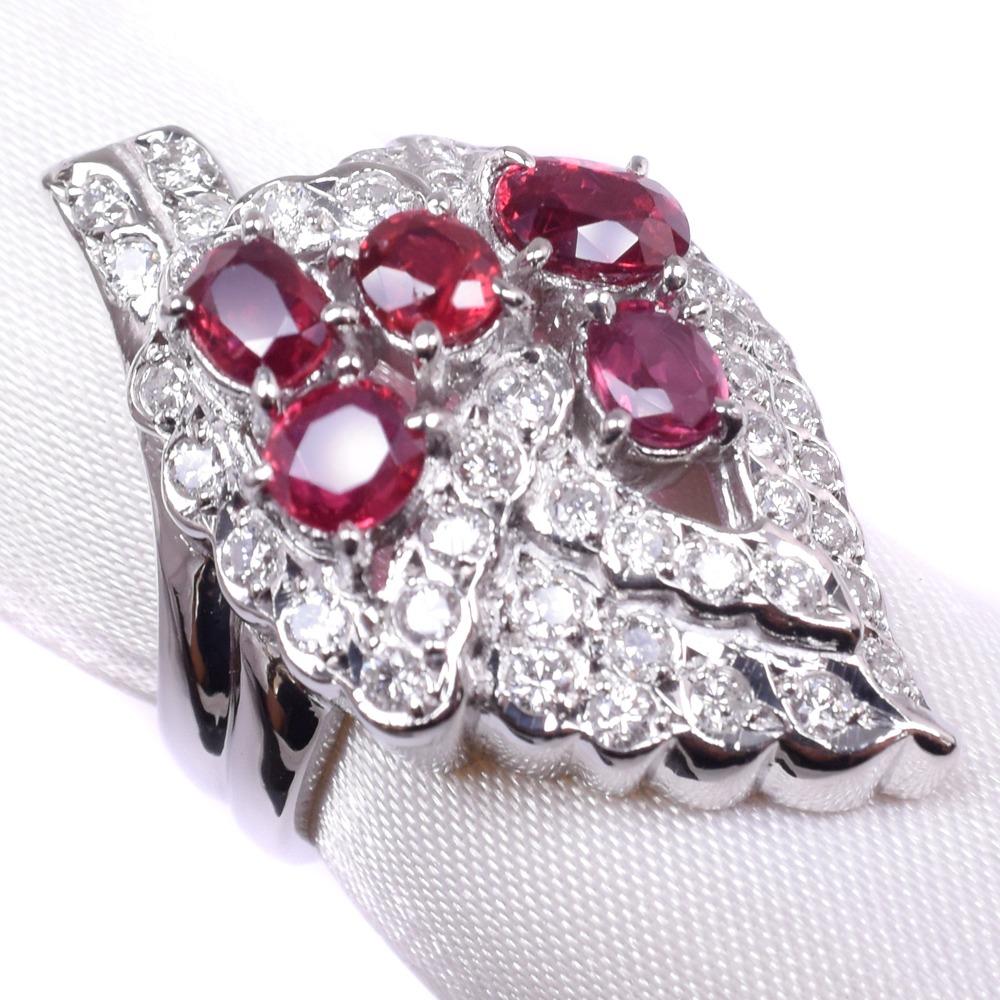 ダイヤモンド グレープ 11号 Pt900プラチナ×ルビー 11号 赤 レディース リング・指輪【中古】SAランク