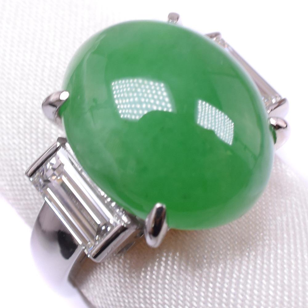 ヒスイ ダイヤモンド Pt900プラチナ 13号 レディース リング・指輪【中古】SAランク