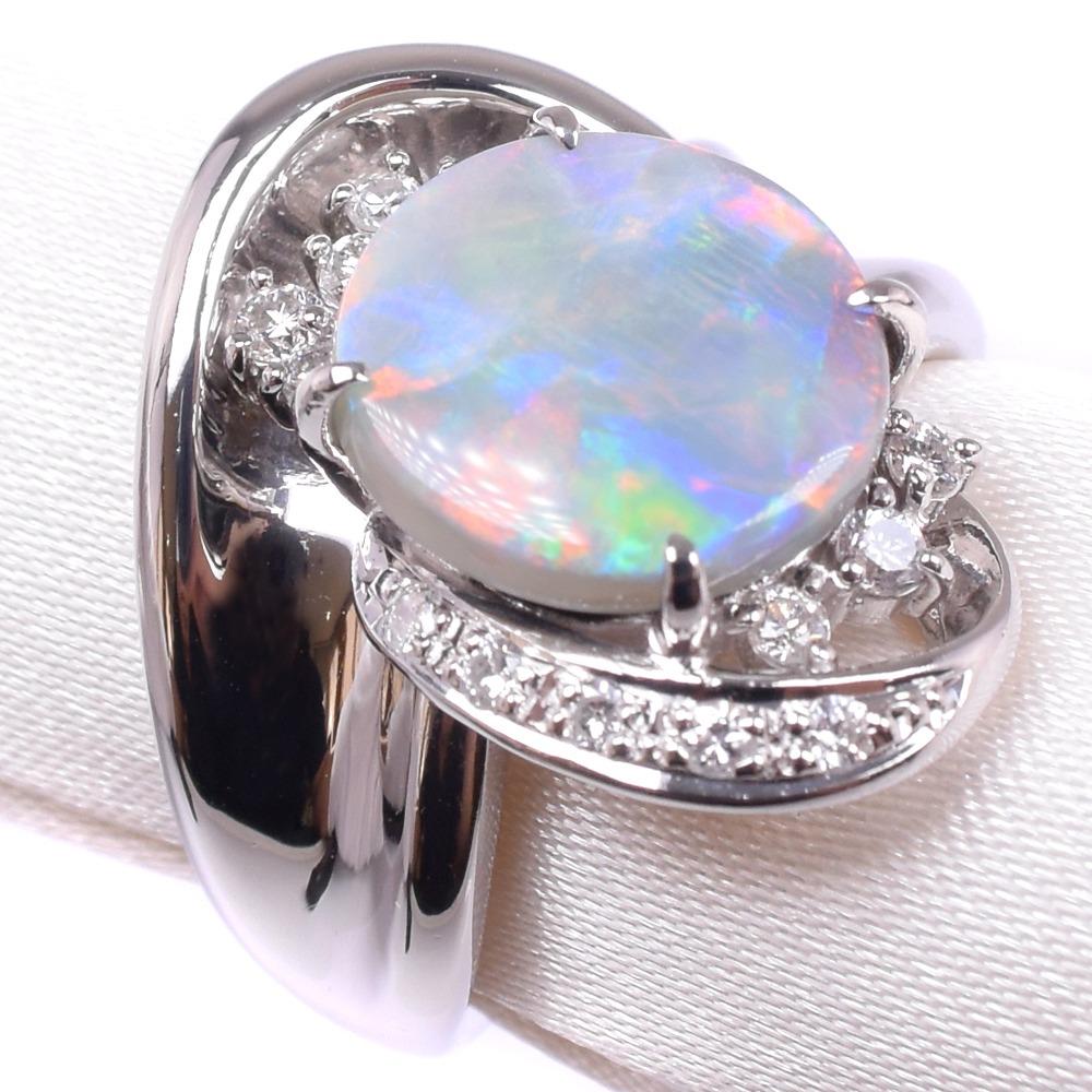 オパール ダイヤモンド Pt900プラチナ 12号 レディース リング・指輪【中古】SAランク