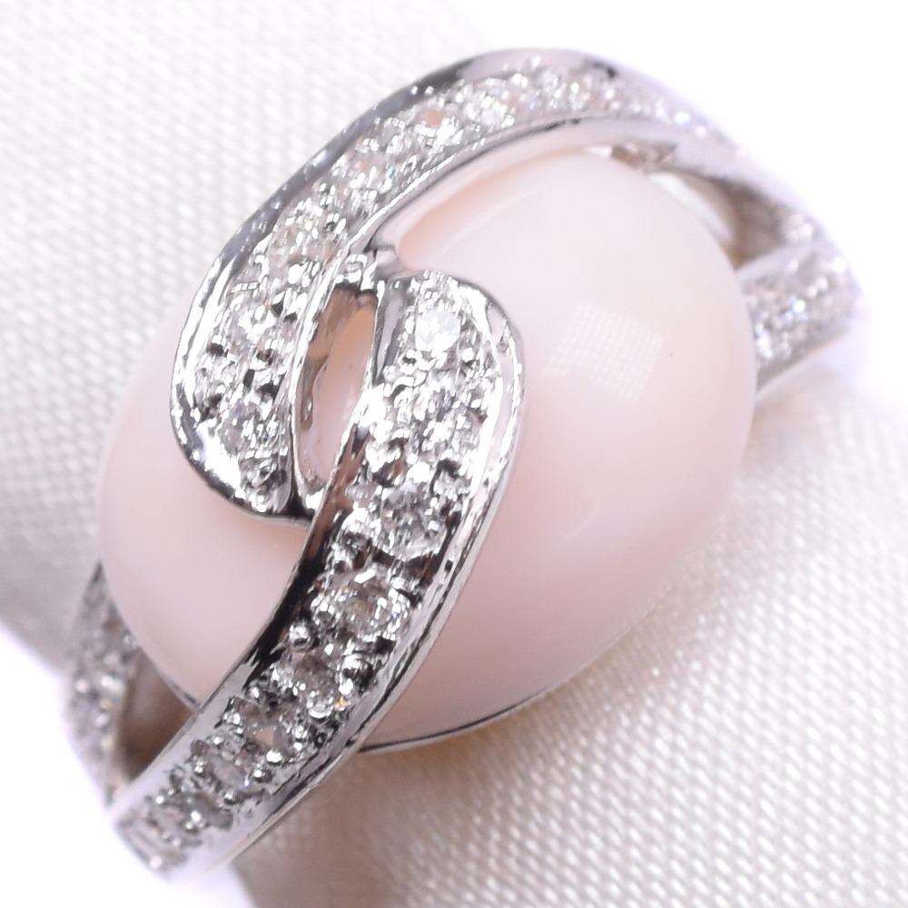 サンゴ ダイヤモンド K18ホワイトゴールド 13号 レディース リング・指輪【中古】SAランク