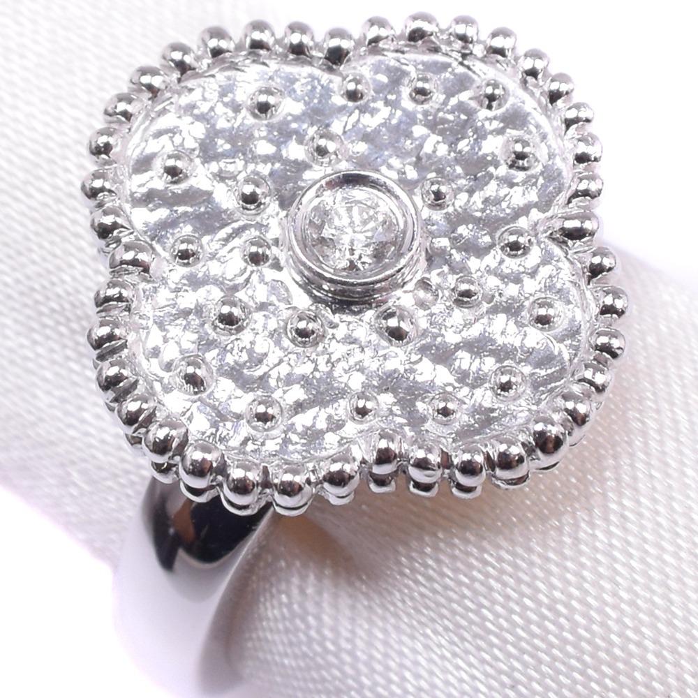 ダイヤモンド クローバー K18ホワイトゴールド 12号 レディース リング・指輪【中古】SAランク