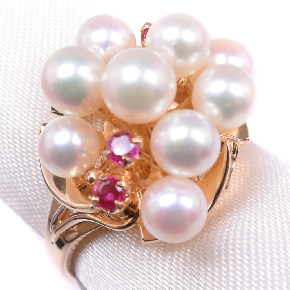 真珠/パール K18イエローゴールド 9号 レディース リング・指輪【中古】SAランク