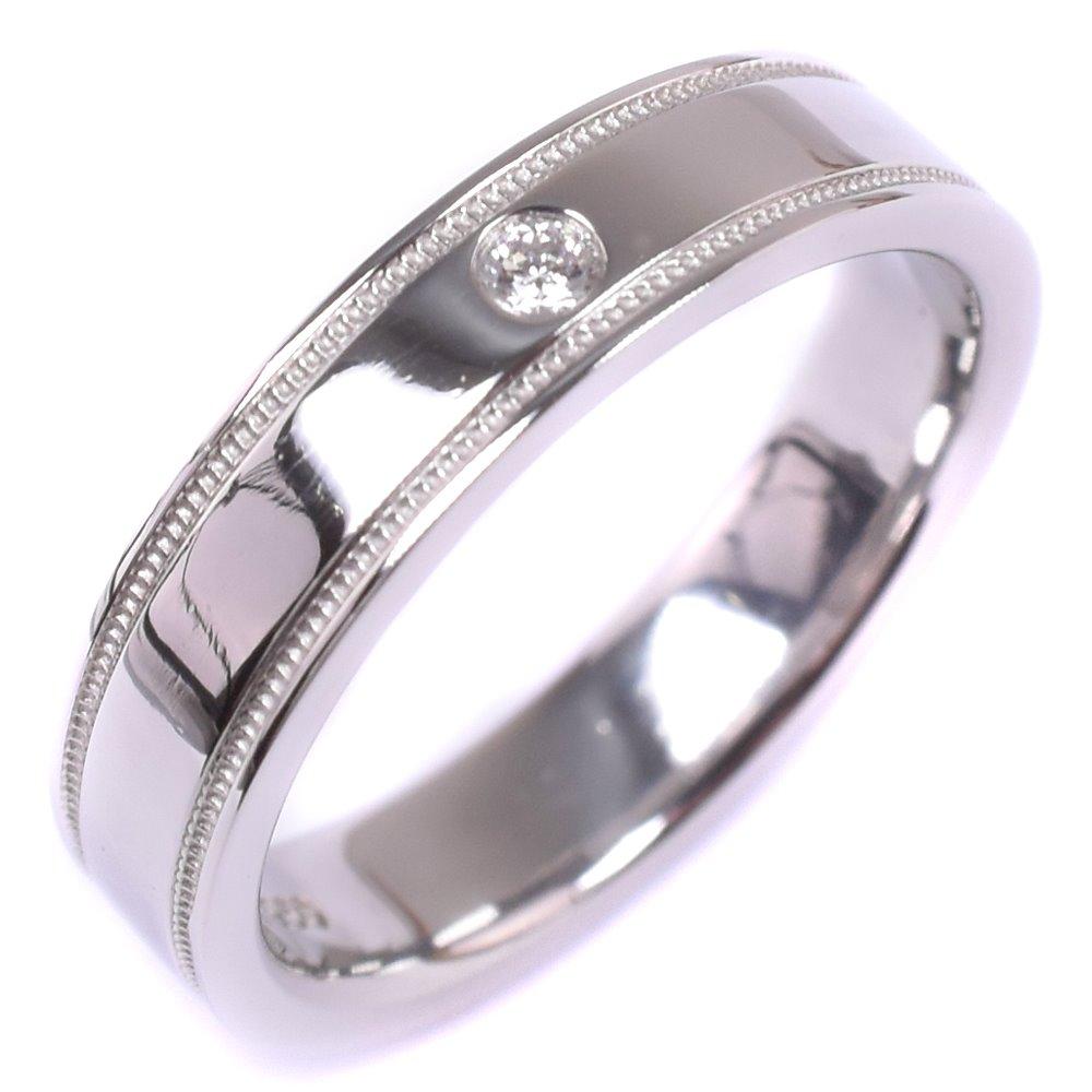 【TIFFANY&Co.】ティファニー ミルグレイン ダイヤモンド 6.5号 Pt950プラチナ 6.5号 レディース リング・指輪【中古】SAランク