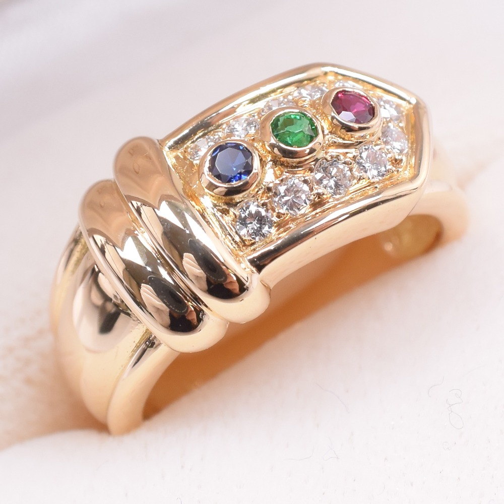 【Christian Dior】クリスチャンディオール ダイヤモンド サファイア/ルビー/エメラルド 6.5号 K18イエローゴールド 11.5号 レディース リング・指輪【中古】SAランク