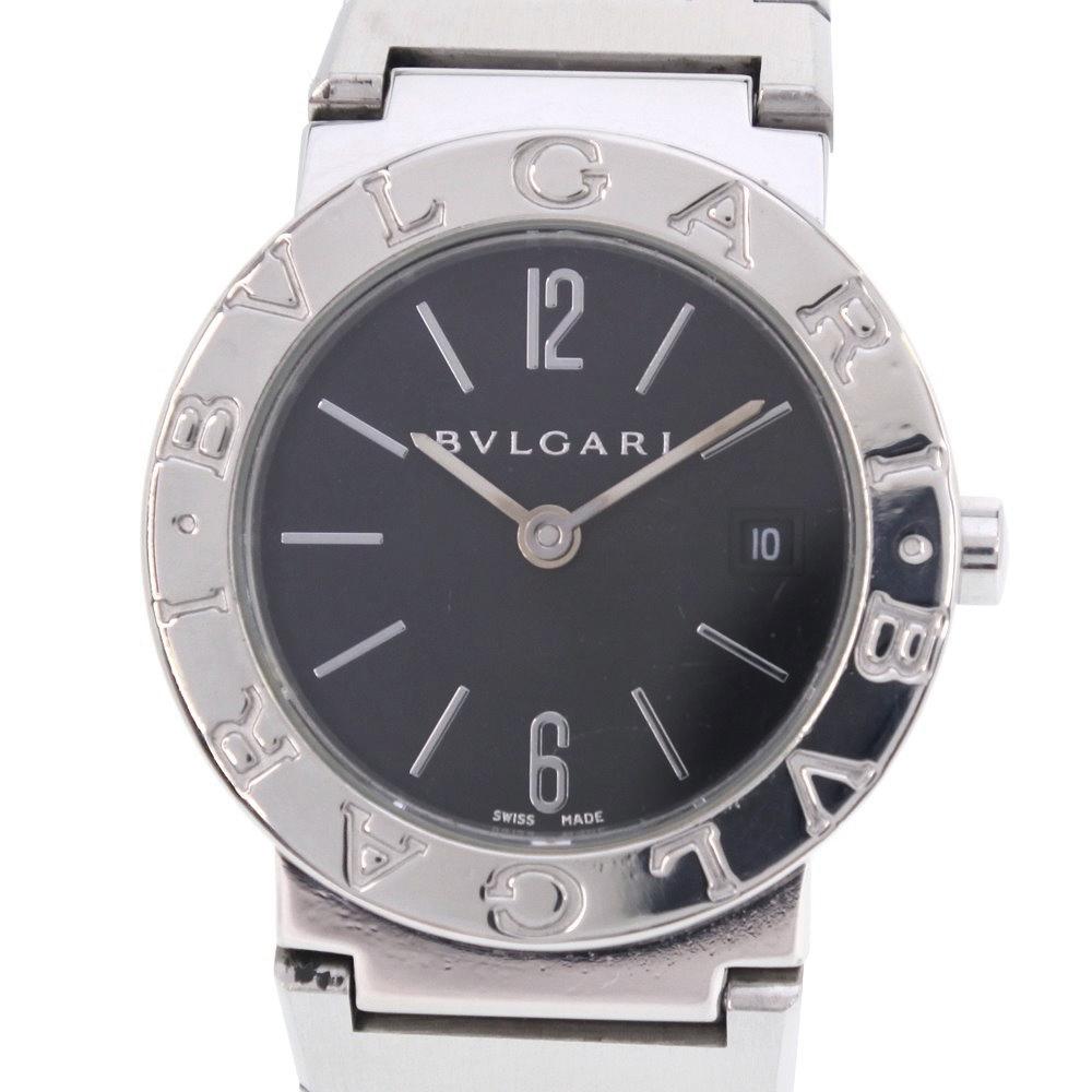 【BVLGARI】ブルガリ ブルガリブルガリ BB26SS ステンレススチール シルバー クオーツ レディース 黒文字盤 腕時計【中古】
