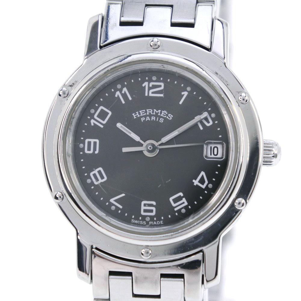 【HERMES】エルメス クリッパー CL4.210 ステンレススチール シルバー クオーツ レディース グレー文字盤 腕時計【中古】