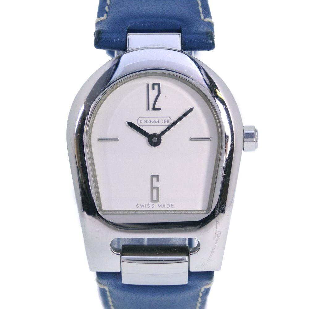 【COACH】コーチ 0208 ステンレススチール×レザー ブルー クオーツ レディース シルバー文字盤 腕時計【中古】