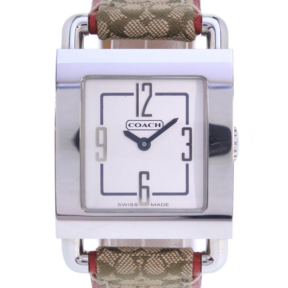 【COACH】コーチ シグネチャー 0221 ステンレススチール×キャンバス シルバー クオーツ ボーイズ シルバー文字盤 腕時計【中古】A-ランク