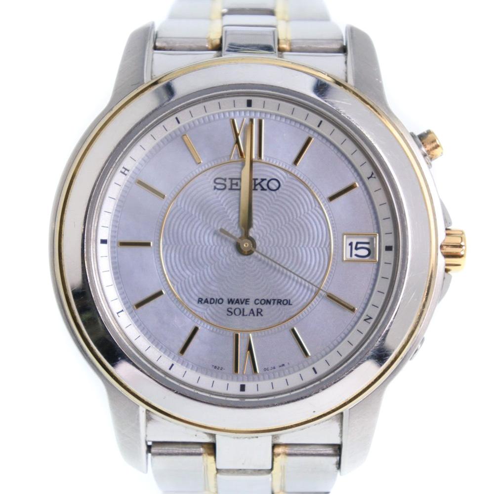 【SEIKO】セイコー スピリット 7B22-0BK0 ステンレススチール シルバー ソーラー電波時計 メンズ シルバー文字盤 腕時計【中古】