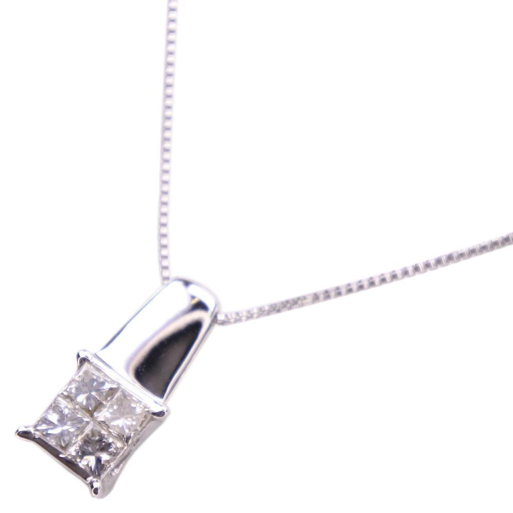 【GRAVIE】グラヴィ ダイヤモンド K18ホワイトゴールド 0.3刻印 レディース ネックレス【中古】SAランク