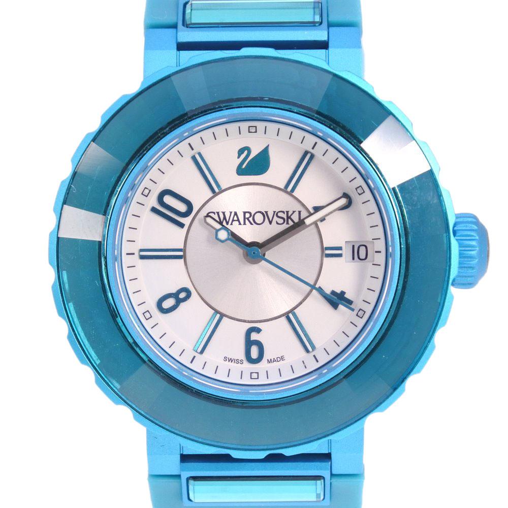 【SWAROVSKI】スワロフスキー ★ ラバー×ステンレススチール ブルー クオーツ レディース シルバー文字盤 腕時計【中古】Aランク