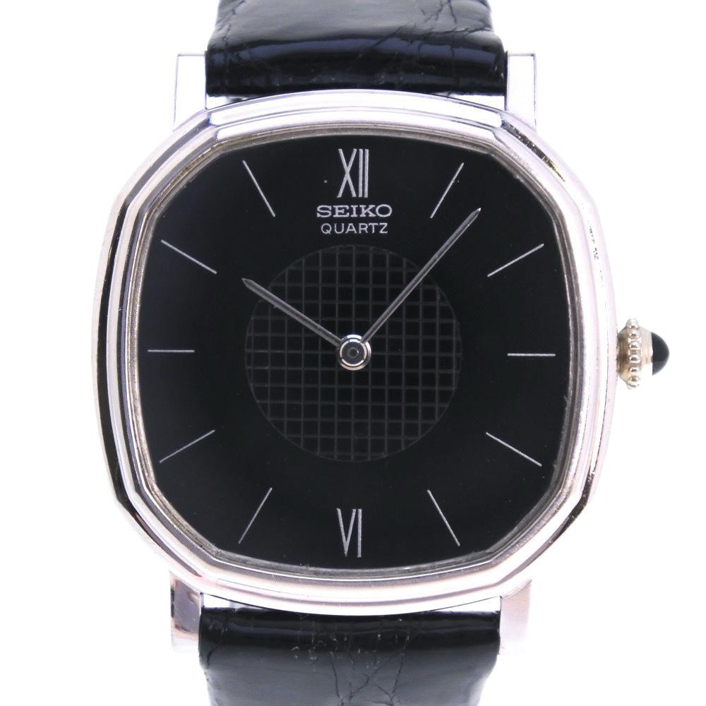 【SEIKO】セイコー ★ 78-5180 K18ホワイトゴールド×レザー シルバー クオーツ メンズ 黒文字盤 腕時計【中古】