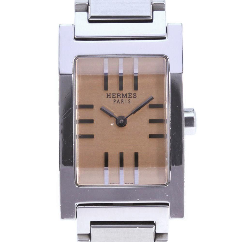 【HERMES】エルメス タンデム TA1.210 ステンレススチール シルバー クオーツ レディース ゴールド文字盤 腕時計【中古】