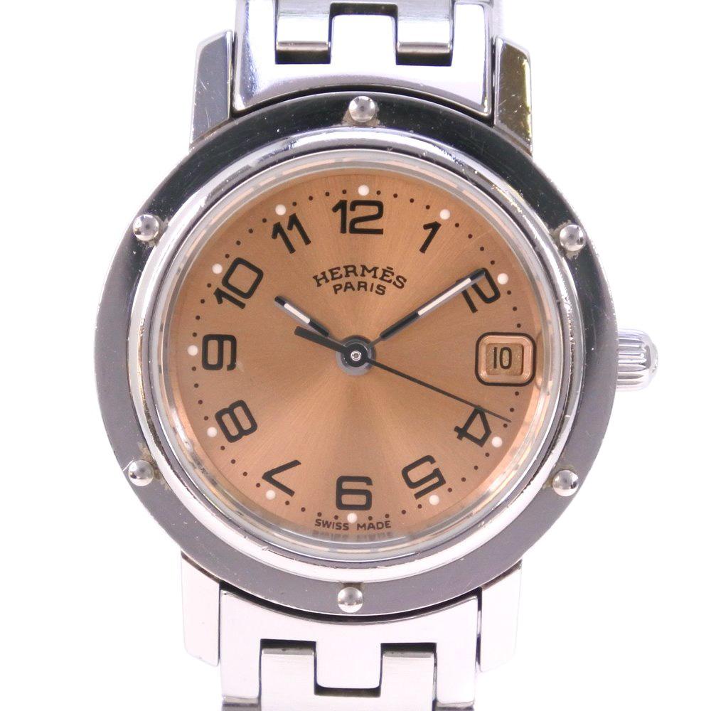 【HERMES】エルメス クリッパー CL4.210 ステンレススチール シルバー クオーツ レディース ゴールド文字盤 腕時計【中古】A-ランク