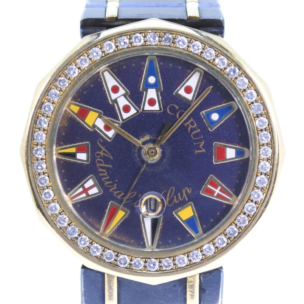 【CORUM】コルム アドミラルズカップ ダイヤベゼル 39.812.33 V-52 K18イエローゴールド×ガンブルー ゴールド クオーツ メンズ 青文字盤 腕時計【中古】